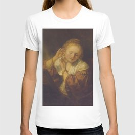 """Rembrandt Harmenszoon van Rijn, """"Young Woman Trying Earrings"""", 1654 T-shirt"""