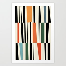 MCC Oddities II - Mid Century Modern Geometric Abstract - Blue Orange Yellow Red Art Print