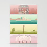 wes anderson Stationery Cards featuring A Wes Anderson Collection by George Townley