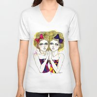 gemini V-neck T-shirts featuring Gemini by D.U.R.A