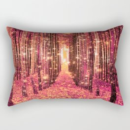 Magical Forest Pink Living Coral Peach Rectangular Pillow