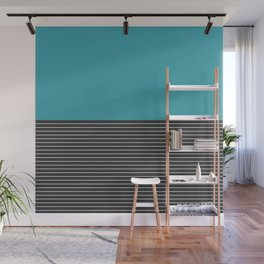 Half thin striped turquoise Wall Mural