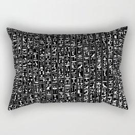 Hieroglyphics B&W INVERTED / Ancient Egyptian hieroglyphics pattern Rectangular Pillow