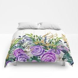 Gold Glitter Purple Garden Comforters