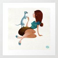 ferret Art Prints featuring Ferret Love by Caroline Born