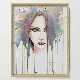 Contemporary Fantasy Woman Watercolor Abstract Art Serving Tray