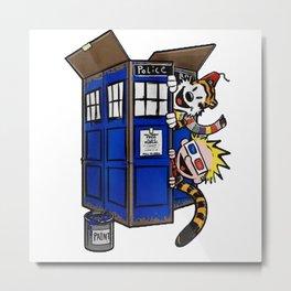 Calvin and Hobbes Doctor Who mashup TARDIS TV Metal Print