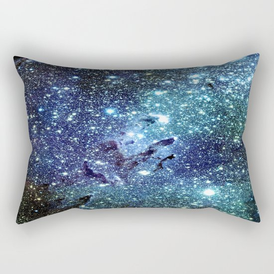 GalaxY Nebula Blue Teal Indigo Rectangular Pillow