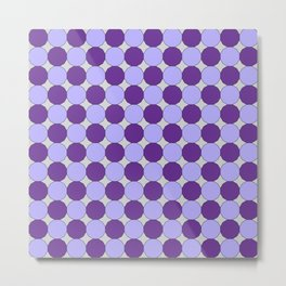 Purple Dodecagons on Silver Metal Print