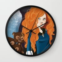 merida Wall Clocks featuring Merida by Sophie Cappellari