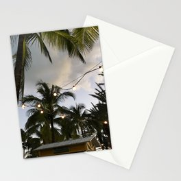 Twinkle Lights under Bahamian Palm Trees Stationery Cards