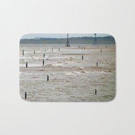 Gormley Statues on the beach (Digital Art) Bath Mat