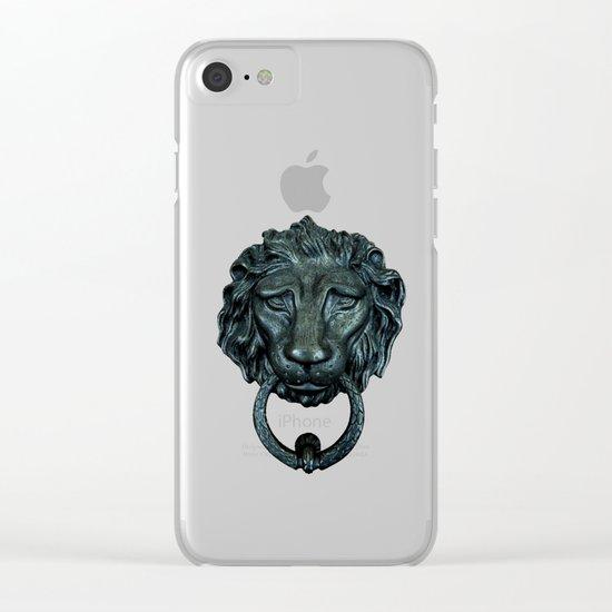 Vintage bronze lion door knocker Clear iPhone Case