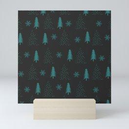 Santas Workshop Christmas Trees Blue and Black Christmas Mini Art Print