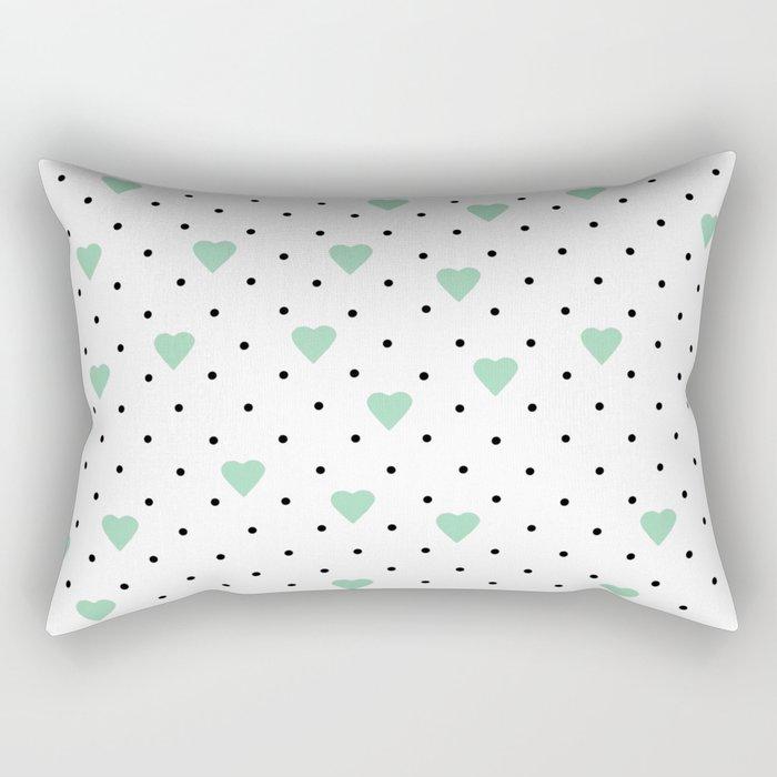Pin Point Hearts Mint Rectangular Pillow