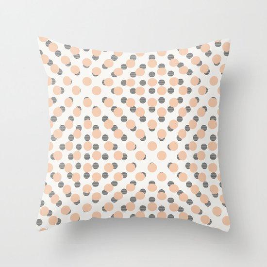 Black & Pink Polka Dots Throw Pillow