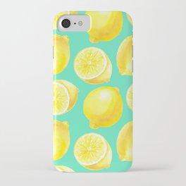 Watercolor lemons pattern iPhone Case