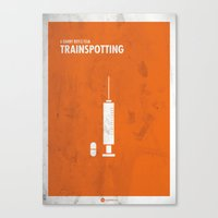 trainspotting Canvas Prints featuring Trainspotting Film Poster by Quim Mirabet