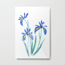 blue iris watercolor Metal Print