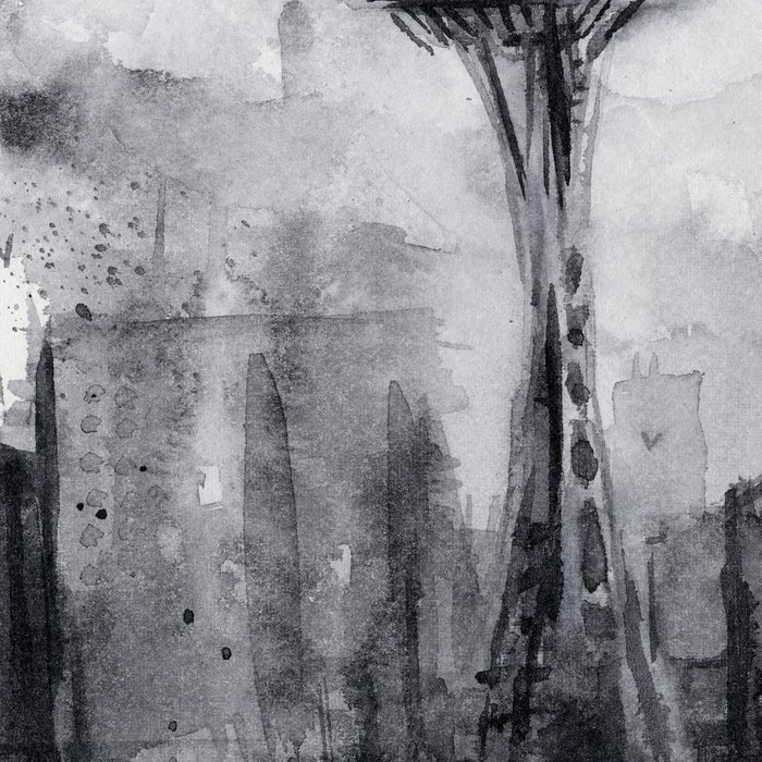 Seattle Skyline Painting Watercolor Black and White Space Needle Leggings