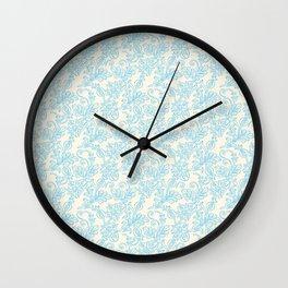 Vintage retro ivory blue shabby floral damask pattern Wall Clock