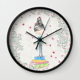 Bookish Girl Watercolor Wall Clock