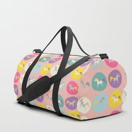 Cute Unicorn polka dots pink pastel colors and linen texture #homedecor #apparel #stationary #kids Duffle Bag