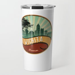 Wichita City Skyline Kansas Retro Vintage Design Travel Mug