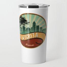 Wichita City Skyline Kansas Retro Vintage Design Travel Mug
