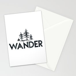 WANDER Forest Trees Black and White Stationery Cards