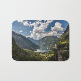 Geiranger Fjord Norway Mountains Bath Mat