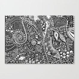 Aztec B&W (Handmade) Canvas Print