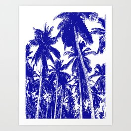 Palm Trees Design in Blue and White Art Print