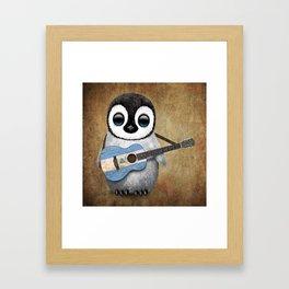 Baby Penguin Playing Nicaraguan Flag Acoustic Guitar Framed Art Print