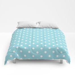 Sky Blue with White Polka Dots Comforters