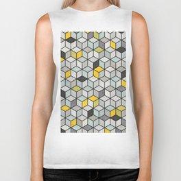 Colorful Concrete Cubes - Yellow, Blue, Grey Biker Tank
