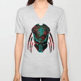 Soldier Predator Red Teal Unisex V-Neck