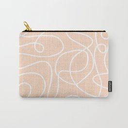 Doodle Line Art   White Lines on Peach/Apricot Carry-All Pouch