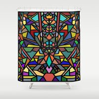 stained glass Shower Curtains featuring stained glass by westchestrian_art