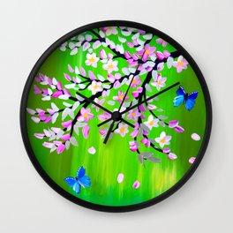 Green  and Ulysseys butterflies Wall Clock