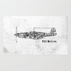 North American P51 Mustang (black) Rug