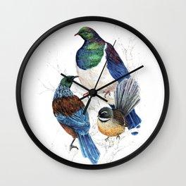 thee birds in a tree Wall Clock