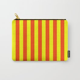 Super Bright Neon Orange and Yellow Vertical Beach Hut Stripes Carry-All Pouch