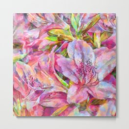 Azalea Flowers PhotoArt Metal Print