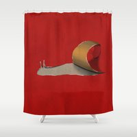 snail Shower Curtains featuring snail by gazonula