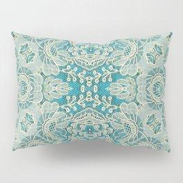 floral lace on blue Pillow Sham