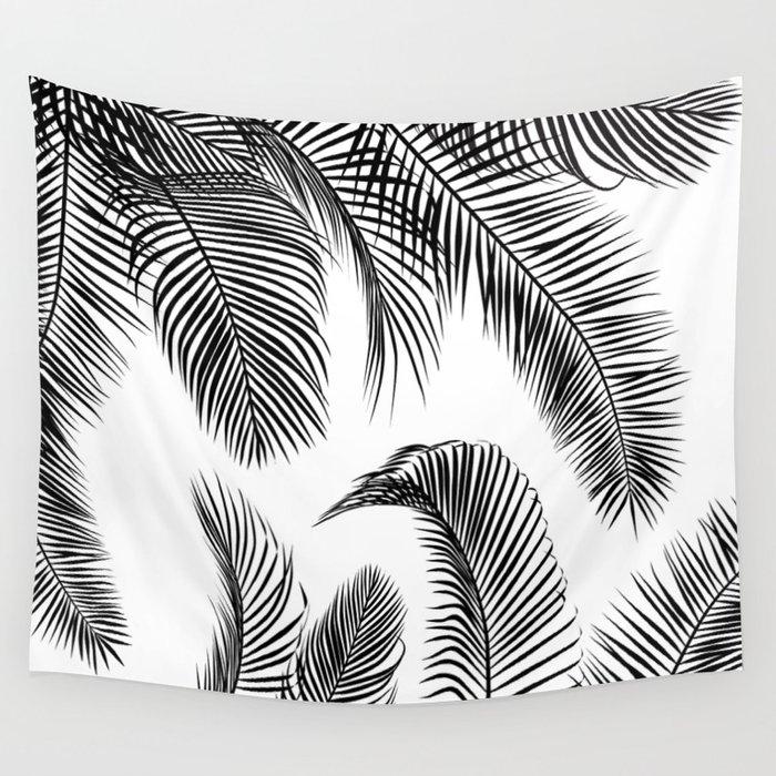 Black Palm Tree Leaves Pattern Wall Tapestry By Martaolgaklara Society6