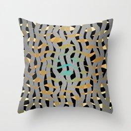 Wavy Mosaic Organic Weave Abstract Throw Pillow