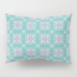 Ice Blue Pink Flower Christmas Pattern Pillow Sham