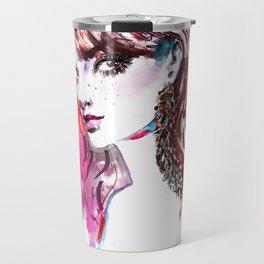 Pink and gold earrings. Fashion illustration Travel Mug